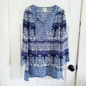 Fig and Flower Boho Sheer Blouse Size L
